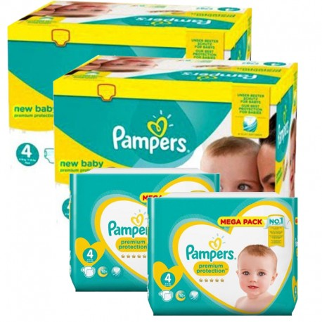 Maxi giga pack 328 Couches Pampers Premium Protection taille 4 sur Promo Couches