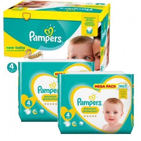 Maxi mega pack 410 Couches Pampers Premium Protection taille 4 sur Promo Couches