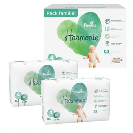 Pack 76 Couches Pampers Harmonie taille 4 sur Promo Couches