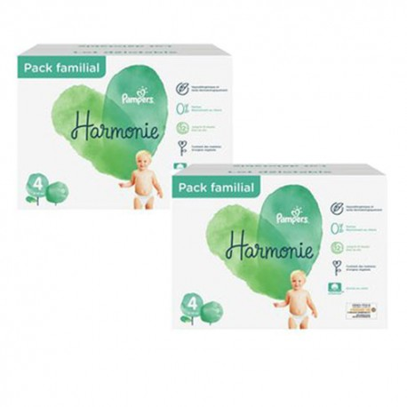 Pack 95 Couches Pampers Harmonie taille 4 sur Promo Couches
