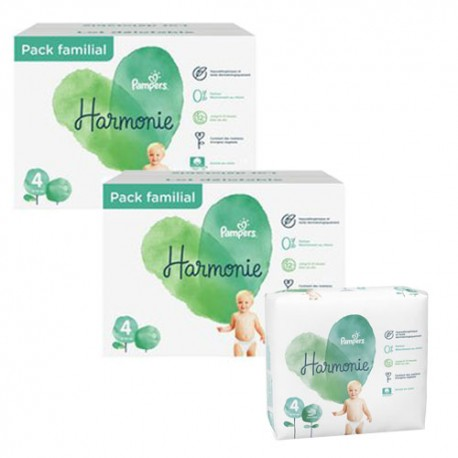 Mega pack 133 Couches Pampers Harmonie taille 4 sur Promo Couches