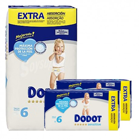 Mega pack 195 Couches Dodot Sensitive taille 6 sur Promo Couches