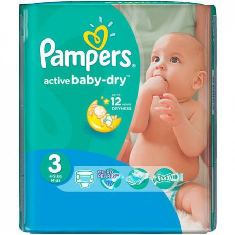 Mega pack 124 Couches Pampers Active Baby Dry taille 3 sur Promo Couches