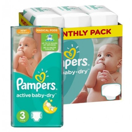 Maxi giga pack 372 Couches Pampers Active Baby Dry taille 3 sur Promo Couches