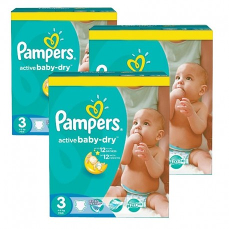 Pack jumeaux 992 Couches Pampers Active Baby Dry taille 3 sur Promo Couches