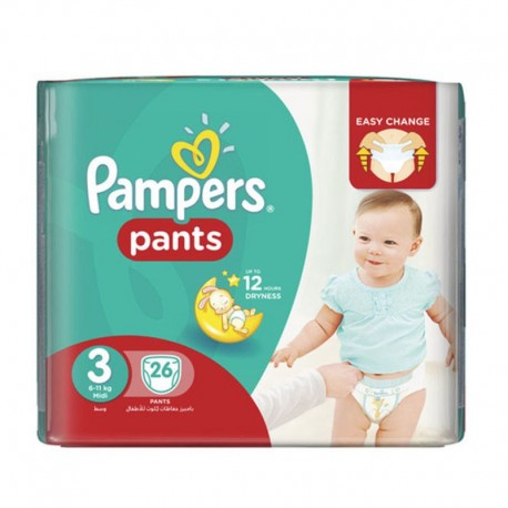 Pack 19 Couches Pampers Baby Dry Pants taille 3 sur Promo Couches