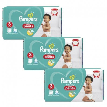 Giga pack 228 Couches Pampers Baby Dry Pants taille 3 sur Promo Couches