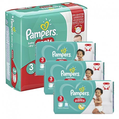 Giga pack 285 Couches Pampers Baby Dry Pants taille 3 sur Promo Couches