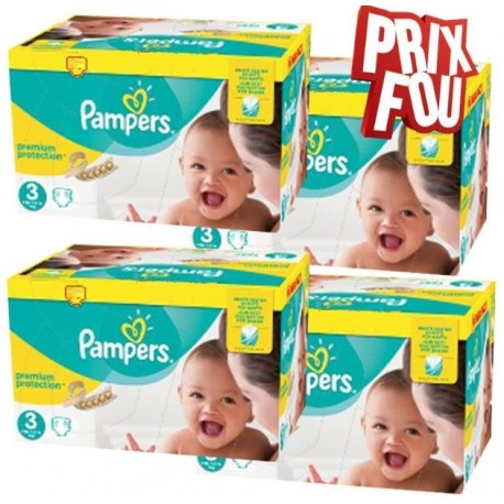 Giga pack 204 Couches Pampers New Baby Premium Protection taille 3 sur Promo Couches
