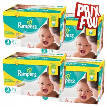 Pack 58 Couches Pampers Premium Protection taille 3 sur Promo Couches