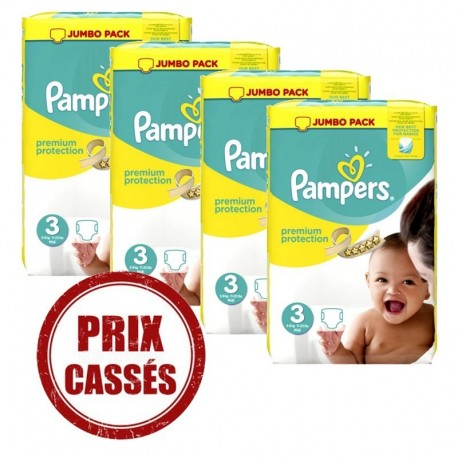 Maxi giga pack 377 Couches Pampers Premium Protection taille 3 sur Promo Couches