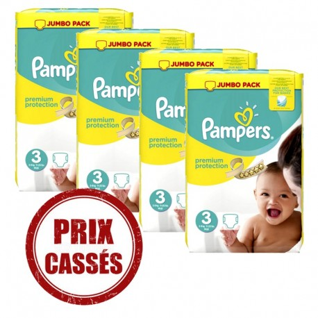Maxi mega pack 493 Couches Pampers Premium Protection taille 3 sur Promo Couches