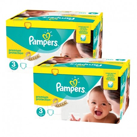 Pack jumeaux 522 Couches Pampers Premium Protection taille 3 sur Promo Couches