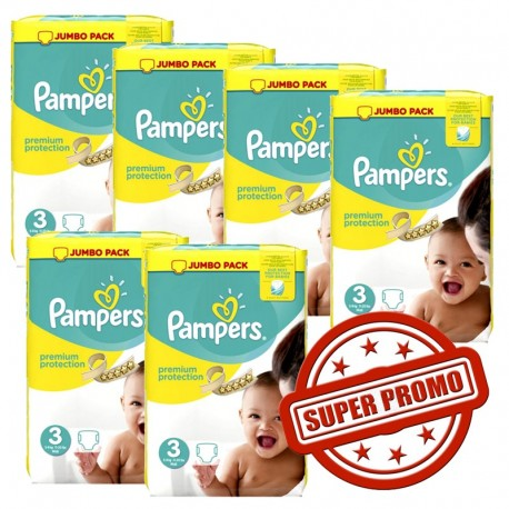 Pack jumeaux 580 Couches Pampers Premium Protection taille 3 sur Promo Couches