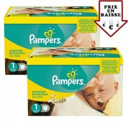 Pack jumeaux 560 Couches Pampers Premium Protection taille 1 sur Promo Couches