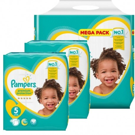 Maxi mega pack 408 Couches Pampers Premium Protection taille 5 sur Promo Couches