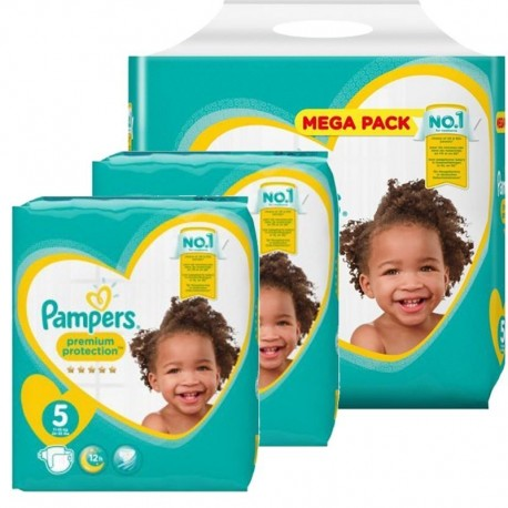 Maxi mega pack 476 Couches Pampers Premium Protection taille 5 sur Promo Couches