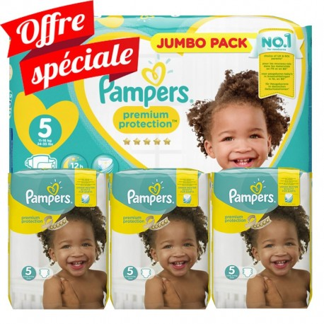 Pack jumeaux 612 Couches Pampers Premium Protection taille 5 sur Promo Couches