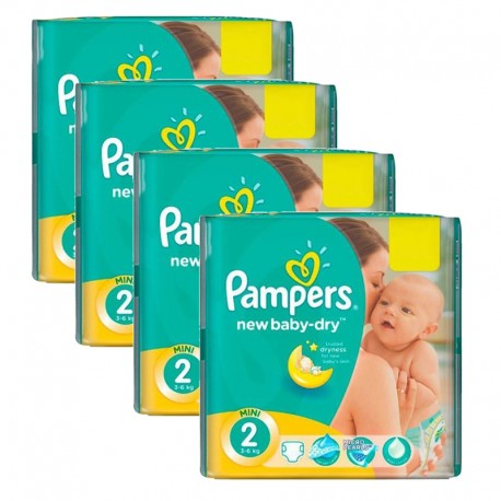 Giga pack 204 Couches Pampers New Baby Dry taille 2 sur Promo Couches
