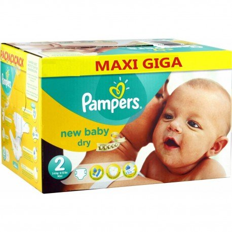 Maxi giga pack 340 Couches Pampers New Baby Dry taille 2 sur Promo Couches