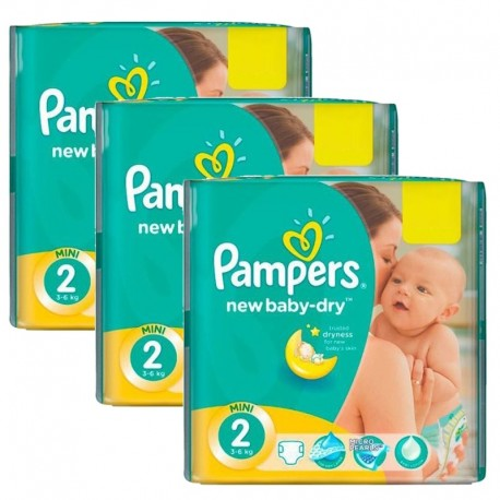 Pack jumeaux 544 Couches Pampers New Baby Dry taille 2 sur Promo Couches