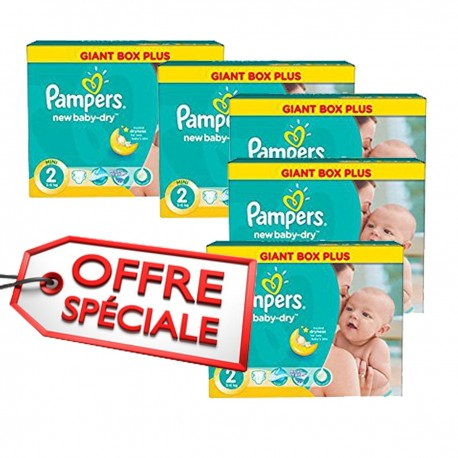 Pack jumeaux 748 Couches Pampers New Baby Dry taille 2 sur Promo Couches