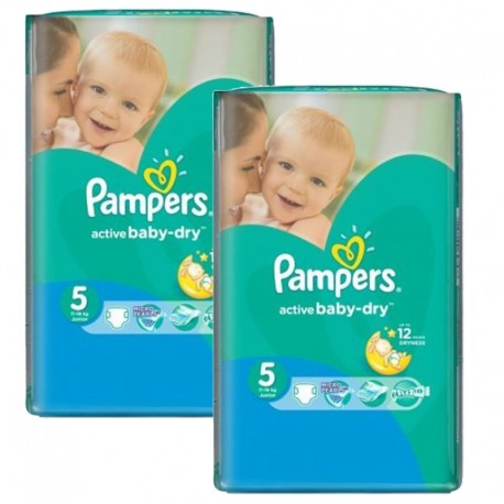 Pack 84 Couches Pampers Active Baby Dry taille 5 sur Promo Couches