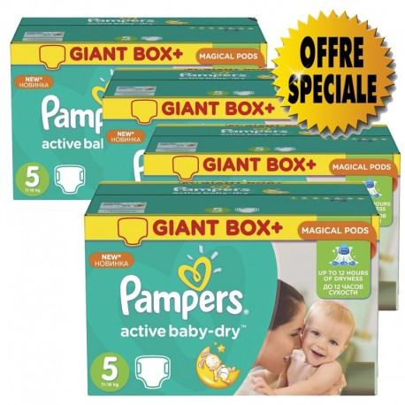 Mega pack 126 Couches Pampers Active Baby Dry taille 5 sur Promo Couches
