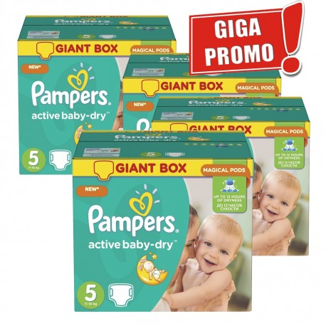 Maxi giga pack 336 Couches Pampers Active Baby Dry taille 5 sur Promo Couches