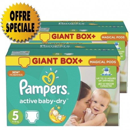 Maxi giga pack 378 Couches Pampers Active Baby Dry taille 5 sur Promo Couches