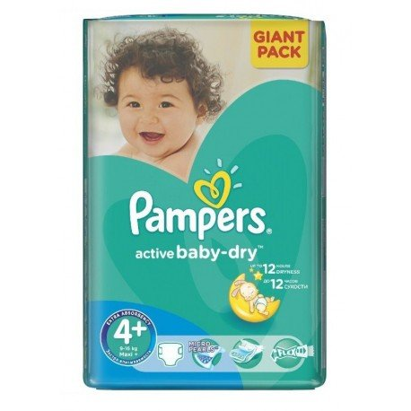 Pack 58 Couches Pampers Active Baby Dry taille 4+ sur Promo Couches