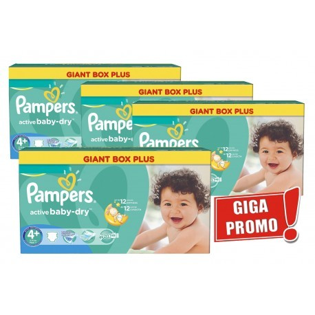 Mega pack 116 Couches Pampers Active Baby Dry taille 4+ sur Promo Couches