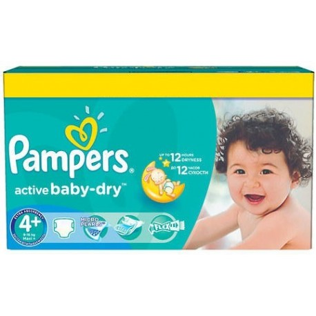 Mega pack 174 Couches Pampers Active Baby Dry taille 4+ sur Promo Couches