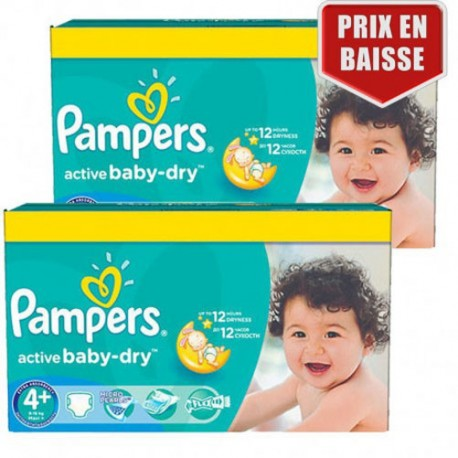 Giga pack 232 Couches Pampers Active Baby Dry taille 4+ sur Promo Couches