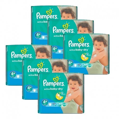 Giga pack 290 Couches Pampers Active Baby Dry taille 4+ sur Promo Couches