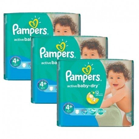 Maxi giga pack 348 Couches Pampers Active Baby Dry taille 4+ sur Promo Couches