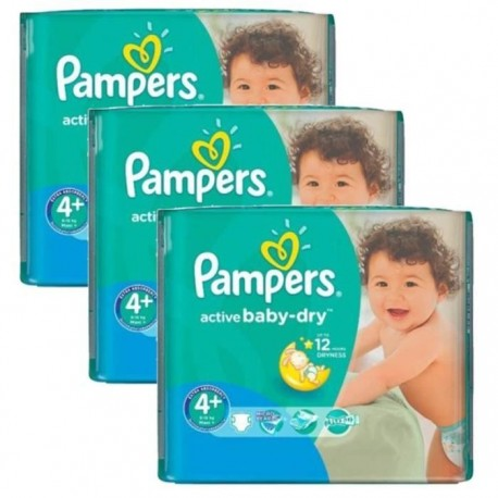 Maxi mega pack 406 Couches Pampers Active Baby Dry taille 4+ sur Promo Couches