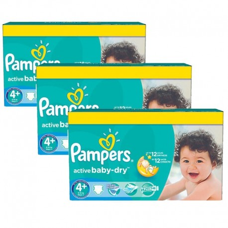 Pack jumeaux 580 Couches Pampers Active Baby Dry taille 4+ sur Promo Couches