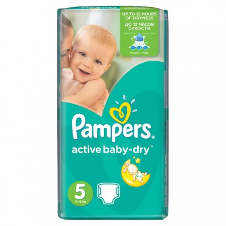 Pack 54 Couches Pampers Active Baby Dry taille 5 sur Promo Couches