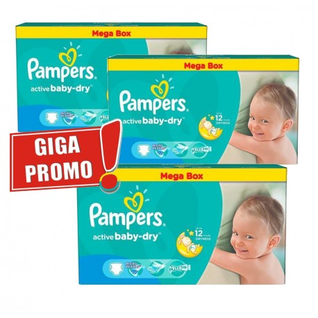 Mega pack 192 Couches Pampers Active Baby Dry taille 5 sur Promo Couches