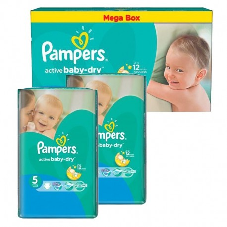Maxi giga pack 320 Couches Pampers Active Baby Dry taille 5 sur Promo Couches