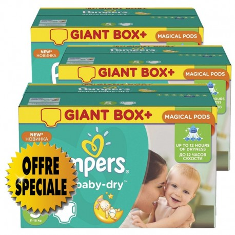 Maxi giga pack 384 Couches Pampers Active Baby Dry taille 5 sur Promo Couches