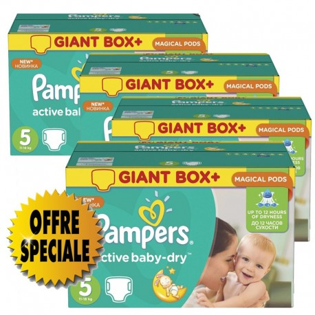 Pack jumeaux 640 Couches Pampers Active Baby Dry taille 5 sur Promo Couches