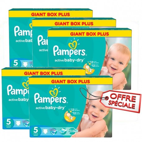 Pack jumeaux 704 Couches Pampers Active Baby Dry taille 5 sur Promo Couches