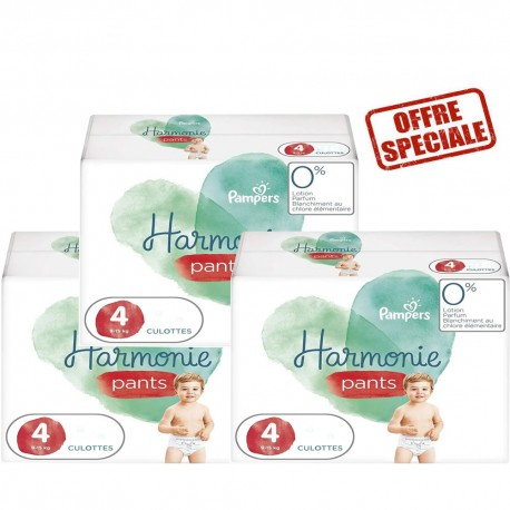 Maxi mega pack 406 Couches Pampers Harmonie Pants taille 4 sur Promo Couches