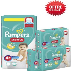 Mega pack 100 Couches Pampers Baby Dry Pants taille 4+ sur Promo Couches