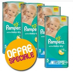 Pack 66 Couches Pampers Active Baby Dry taille 5 sur Promo Couches