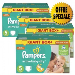 Mega pack 154 Couches Pampers Active Baby Dry taille 5 sur Promo Couches