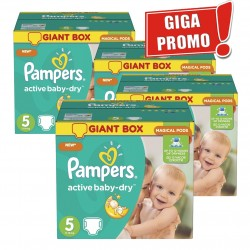 Mega pack 198 Couches Pampers Active Baby Dry taille 5 sur Promo Couches