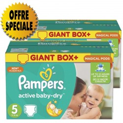 Giga pack 286 Couches Pampers Active Baby Dry taille 5 sur Promo Couches